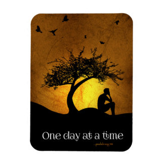 One Day at a Time (12 Step Recovery Male) Rectangular Photo Magnet
