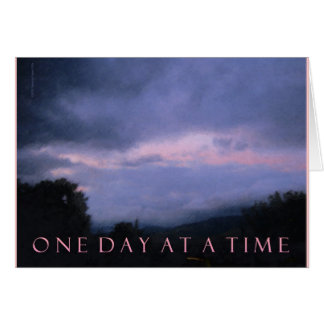One Day at a Time Blue Pink Clouds Card