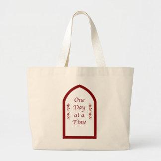 One Day at a Time-Burgundy Frame/Vintage Large Tote Bag