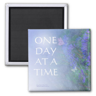 One Day at a Time Butterflies & Vetch 2 Inch Square Magnet