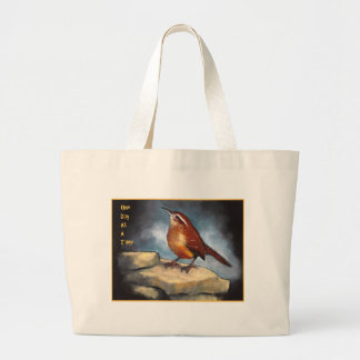 One Day At A Time: Carolina Wren in Oil Pastel Canvas Bags