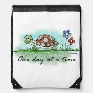 One Day at a Time Drawstring Bag