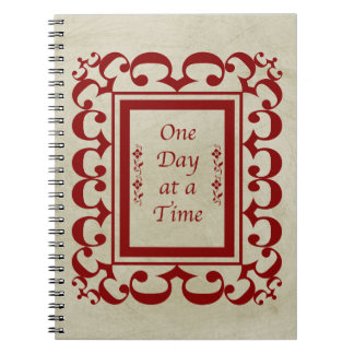 One Day at a Time-Fancy Burgundy Frame/Vintage Notebook