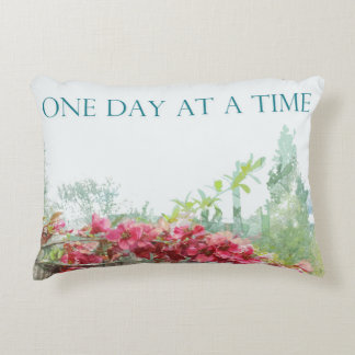 One Day at a Time Fence Flowers Accent Pillow