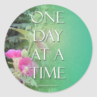 One Day at a Time Floral Sticker