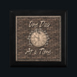 """One Day at a Time God Box, Medallion Box<br><div class=""""desc"""">Beautiful wooden God Box. An aged stone wall with a clock face covered in vines with the slogan One Day at a Time. One of the most important and loved slogans in the 12 step programs.</div>"""