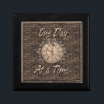 "One Day at a Time God Box, Medallion Box<br><div class=""desc"">Beautiful wooden God Box. An aged stone wall with a clock face covered in vines with the slogan One Day at a Time. One of the most important and loved slogans in the 12 step programs.</div>"