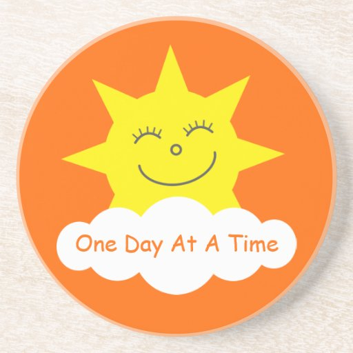 One Day At A Time Happy Sun Customizable Orange Beverage Coasters