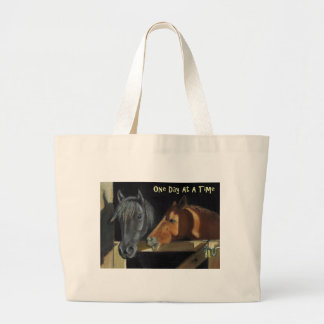 One Day At A Time: Horses in Oil Pastel Canvas Bags