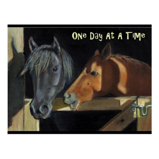 One Day At A Time: Horses in Oil Pastel Postcard