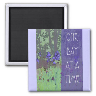 One Day at a Time Irises and Trees 2 Inch Square Magnet
