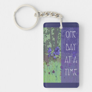 One Day at a Time Irises and Trees Single-Sided Rectangular Acrylic Keychain