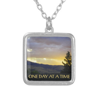 One Day at a Time July Sky Silver Plated Necklace