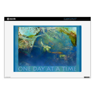 """One Day at a Time Koi Pond Decal For 15"""" Laptop"""