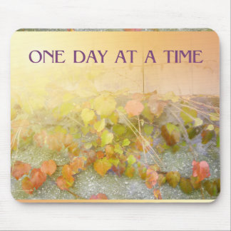 One Day at a Time Leaves on Wall Mousepad