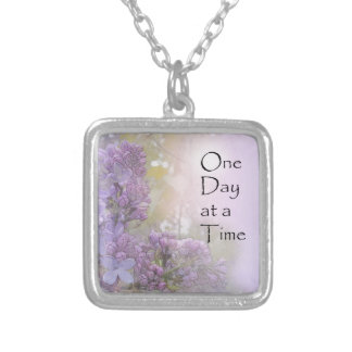 One Day at a Time Lilacs Silver Plated Necklace
