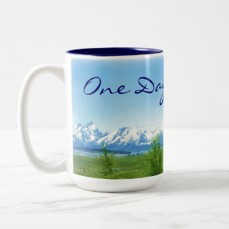 One Day at a Time mountains mug