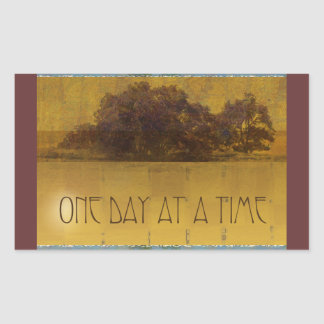 One Day at a Time Oaks by Lake Rectangular Sticker
