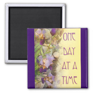 One Day at a Time (ODAT) Irises Nouveau 2 Inch Square Magnet