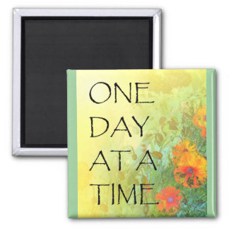 One Day at a Time (ODAT) Lilacs & Poppies 2 Inch Square Magnet
