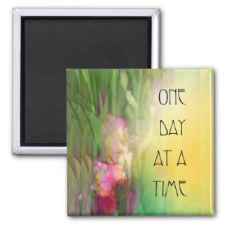 One Day at a Time ODAT Pink and Red Irises 2 Inch Square Magnet