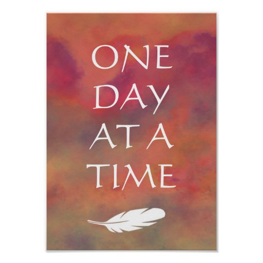 One Day at a Time Orange Clouds White Feathe Print