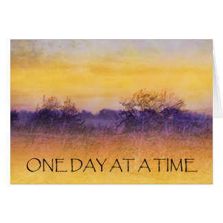 One Day at a Time Orange Purple Field Greeting Card