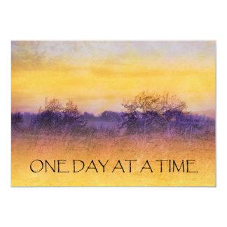 """One Day at a Time Orange Purple Field Invitation 5"""" X 7"""" Invitation Card"""