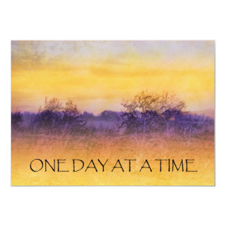 One Day at a Time Orange Purple Field Invitation