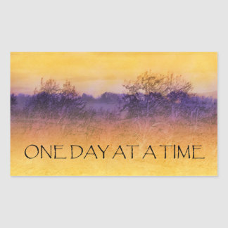One Day at a Time Orange Purple Field Stickers