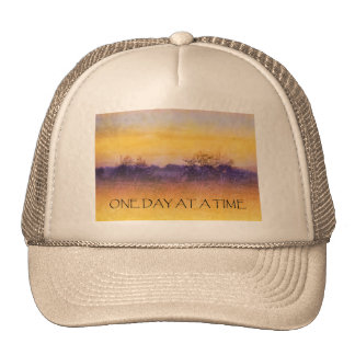 One Day at a Time Orange Purple Field Trucker Hat