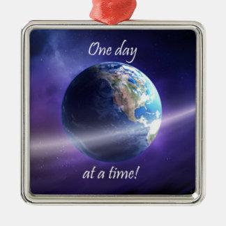 One Day At a Time Square Metal Christmas Ornament