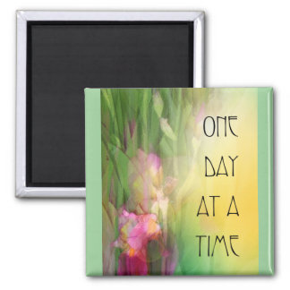 One Day at a Time Pink and Red Irises 2 Inch Square Magnet