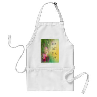 One Day at a Time Pink and Red Irises Adult Apron