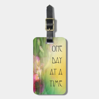 One Day at a Time Pink and Red Irises Bag Tags