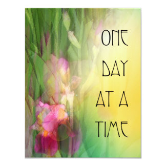 One Day at a Time Pink and Red Irises 4.25x5.5 Paper Invitation Card
