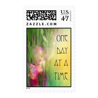 One Day at a Time Pink and Red Irises Postage