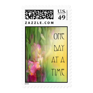 One Day at a Time Pink and Red Irises Stamp