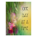 One Day at a Time Pink and Red Irises Poster