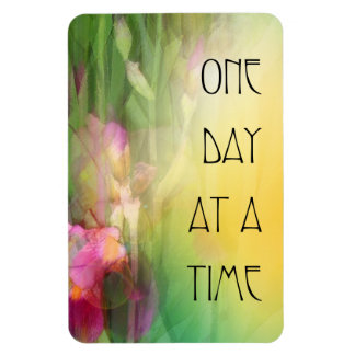 One Day at a Time Pink and Red Irises Rectangular Photo Magnet