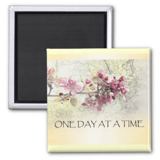 One Day at a Time Pink Blossoms 2 Inch Square Magnet