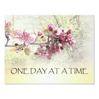 One Day at a Time Pink Blossoms 4.25x5.5 Paper Invitation Card