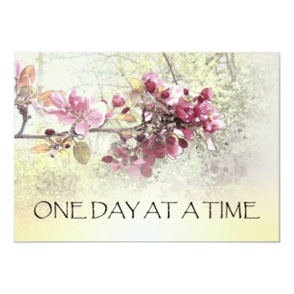 One Day at a Time Pink Blossoms 5x7 Paper Invitation Card