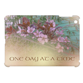 One Day at a Time Plum Blossoms on Green iPad Mini Cases