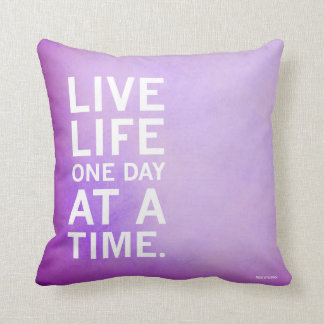 One Day At A Time Purple Water Color Pillow