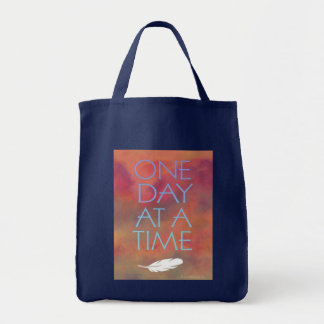One Day at a Time Recovery Slogan Canvas Bags