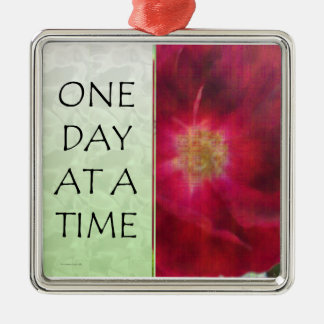 One Day at a Time Red Rose Metal Ornament