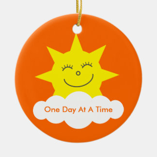 One Day At A Time Sobriety Date Cartoon Sun Ceramic Ornament
