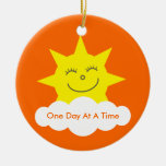 One Day At A Time Sobriety Date Cartoon Sun Double-Sided Ceramic Round Christmas Ornament