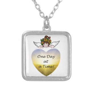 One Day at a Time Square Pendant Necklace